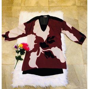 Zara Red & Black Velvet Blouse Top